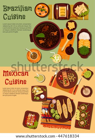 Mexican and brazilian cuisine with beef and corn, black bean and shrimp stews, tacos, enchiladas and guacamole with nachos, peppers and pork skin, fruity cocktails with mate and dumplings