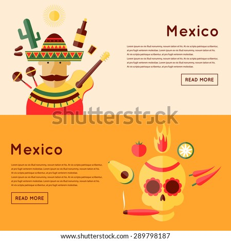 Mexican and icons around. Mexican skull and icons. Mexican food. 2 banners. Flat design vector illustration.
