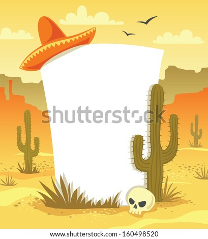 Mexican background with desert  landscape, cacti, hat and skull in vector - stock vector