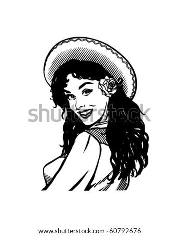 Mexican Beauty - Retro Clip Art - stock vector