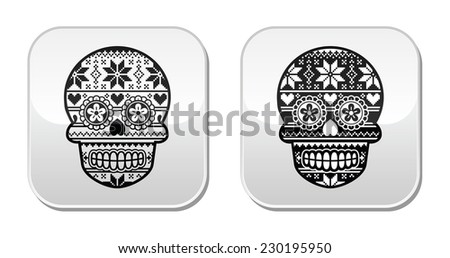 Mexican black sugar skull buttons with winter Nordic pattern - stock vector