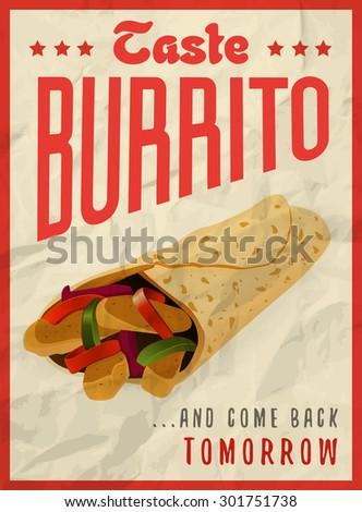 Mexican burrito poster design concept - stock vector