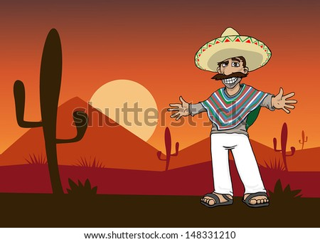 Mexican Cartoon Character standing in the desert at sunset  vector    Mexican Cartoon Character