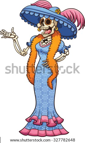 Mexican catrina laughing. Vector clip art illustration with simple gradients. Catrina and dress pattern on separate layers. - stock vector