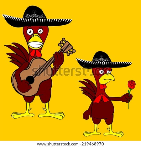 mexican chicken with hat set in vector format - stock vector