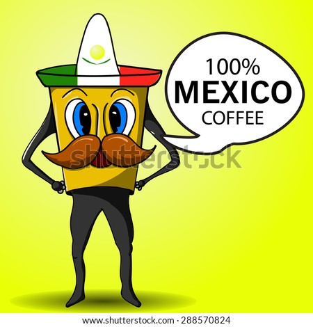Mexican coffee cup to go. Hand drawn. - stock vector