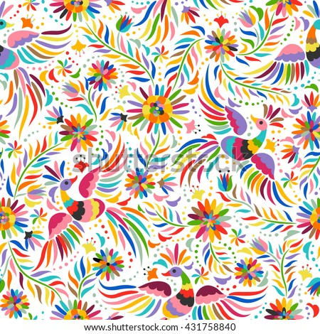 Mexican colorful and ornate ethnic seamless pattern. Birds and flowers on the light background.
