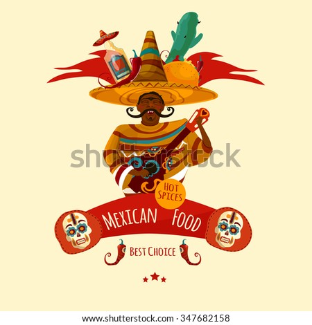 Mexican cuisin menu front page symbol in a cartoon style - stock vector