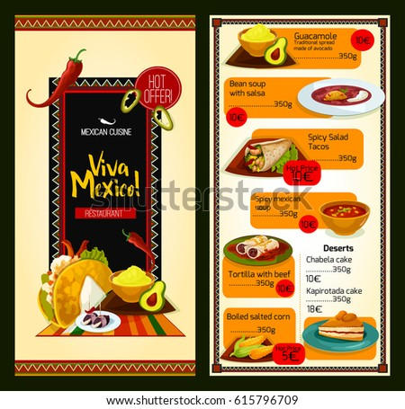 Mexican cuisine restaurant menu template special stock for Tapas menu template