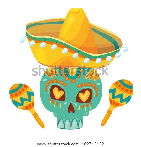Mexican Dead Day Party Symbols Latin Stock Vector 489742429