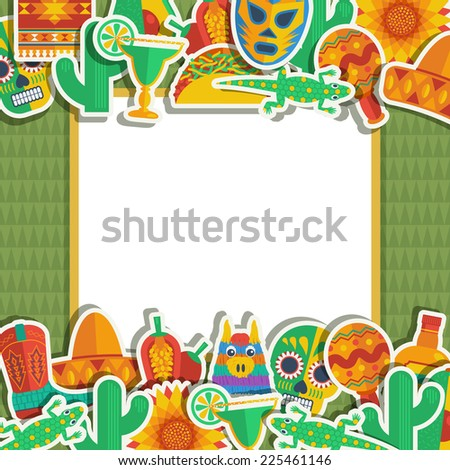 Mexican Decoration Ornaments Frame Your Text Stock Vector 225461146 ...