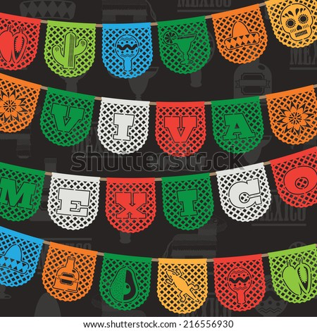 mexican decoration, with viva mexico (long live mexico) paper bunting ornaments on seamless background pattern, with clipping path
