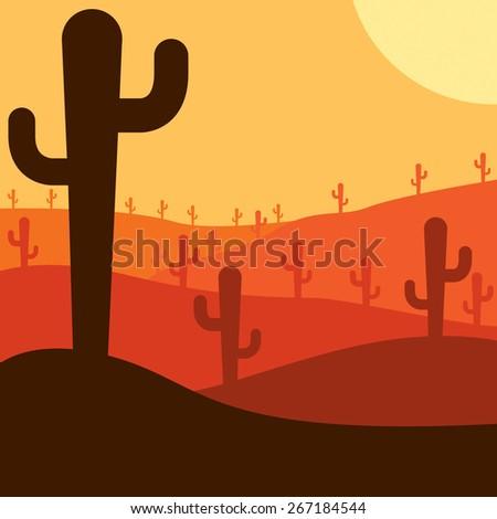Mexican desert cactus scene in vector format. - stock vector