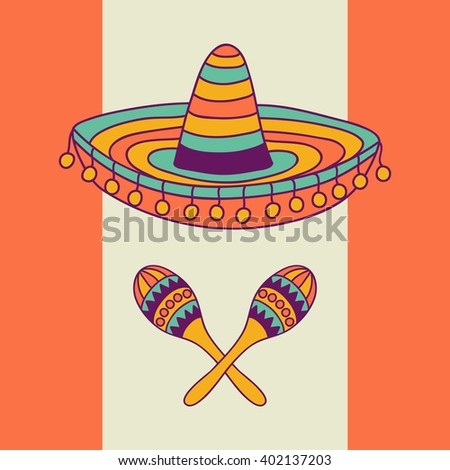 Mexican design with sombrero and cactus, vector illustration