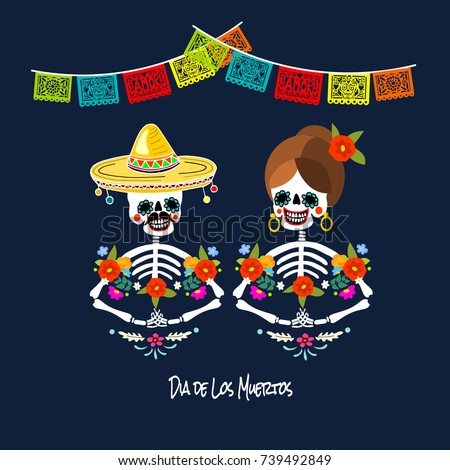 Mexican dia de los muertos day stock photo photo vector mexican dia de los muertos day of the dead skeleton couple greeting card m4hsunfo