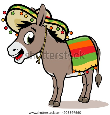 Mexican donkey. A cartoon Mexican donkey wearing a sombrero and a ...