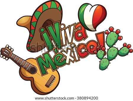 "Mexican elements set up in a banner reading ""Viva Mexico!"". Vector clip art illustration with simple gradients. Each element on a separate layer. - stock vector"