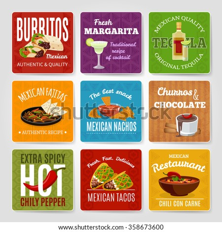 Mexican famous chili con carne and fajitas snack authentic food  recipes labels set abstract isolated vector illustration - stock vector