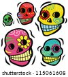 Mexican Festive Skulls - stock vector