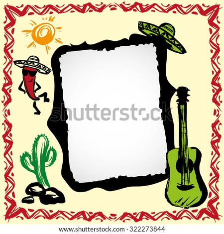 mexican fiesta frame with sombrero's, cactus, chili's and guitar, hand drawn vector - stock vector