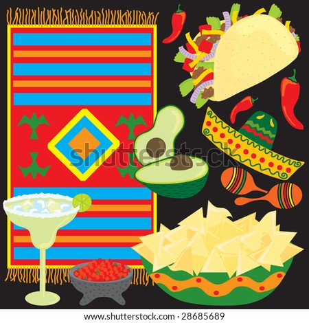 Mexican Fiesta Party elements individually grouped to make your own Fiesta