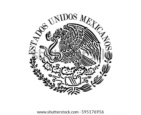mexican flag emblem stock vector 595176956 - shutterstock
