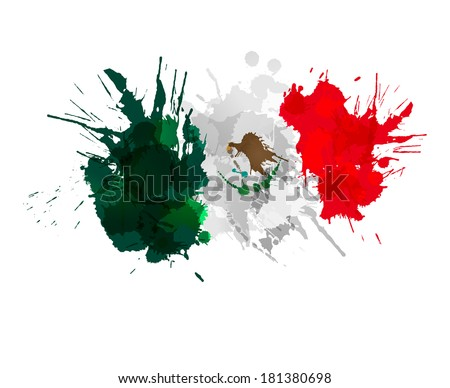 Mexican flag made of colorful splashes - stock vector