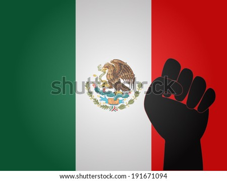 Mexican Flag with Protest Sign EPS10 - stock vector