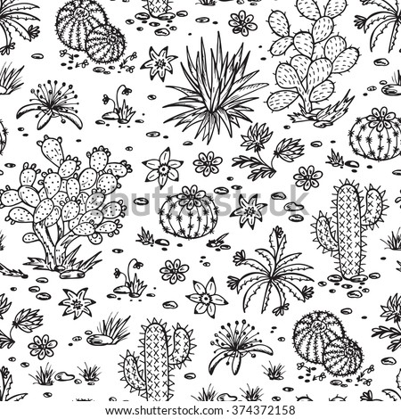 Mexican flora Vector Seamless pattern. Nature of Mexico. Hand drawn doodle Plants, Cactus - stock vector