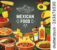 Mexican food background with traditional spicy meal and chalkboard hat vector illustration - stock photo