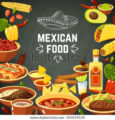 Mexican food background with traditional spicy meal and chalkboard hat vector illustration - stock vector