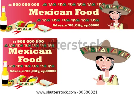 mexican food banner ticket flyer - stock vector