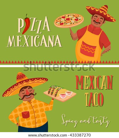 Mexican food. Chef with pizza and tacos. Two banners. Vector character in cartoon style.