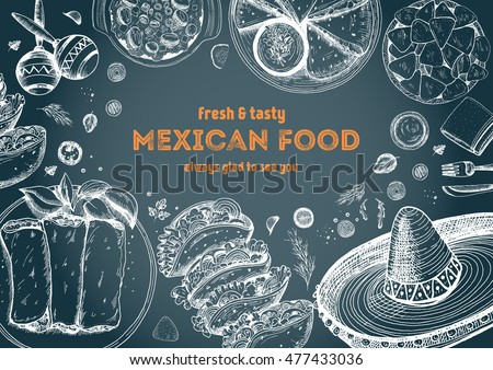 Line Art Illustration Style : Mexican food frame vector stock hd royalty free