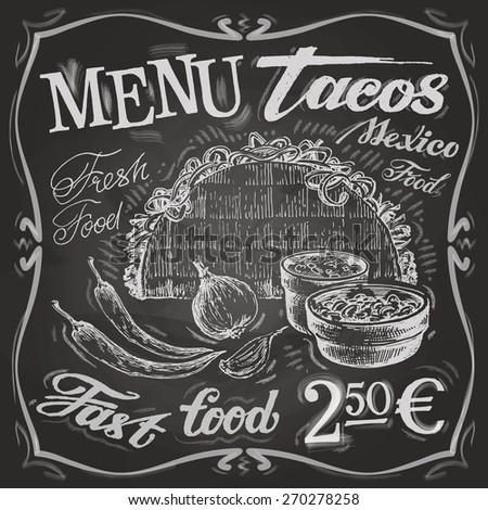 Mexican food logo design template. tacos, burritos or menu board icon. - stock vector