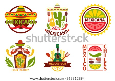Mexican food  logo, labels, emblems and badges set.  Sombrero and tequila bottle, guitar element, vector illustration. Mexican food vector badges and mexican food vector labels - stock vector