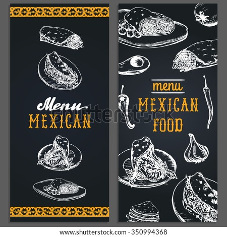 Mexican food menu in vector. Burritos, nachos, tacos illustrations. Vintage hand drawn Mexican quick meals collection. Hipster snack bar, fast-food restaurant icons. Menu template. - stock vector