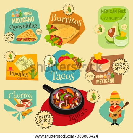 Mexican Food Menu Mini Labels Set with Traditional Spicy Meal. Vector Illustration. - stock vector