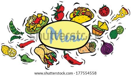 Mexican Food Menu Sign - stock vector