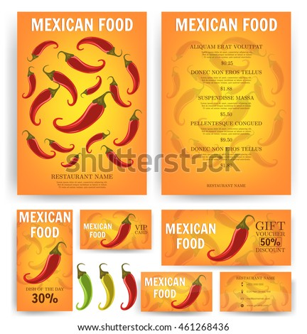 Mexican Food Mexican Restaurant Menu Template Stock Vector 461268436