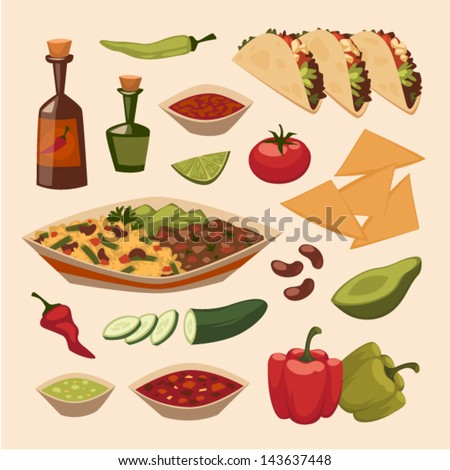 Mexican food. Objects set - stock vector