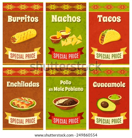 Mexican food promo poster mini set with traditional meal and ingredients isolated vector illustration - stock vector