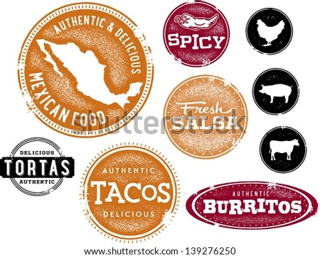 Mexican Food Restaurant Menu Clip Art - stock vector
