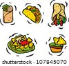 Mexican Food Set - stock vector