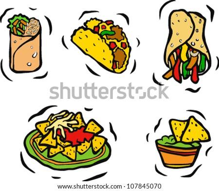 Mexican Food Set - stock vector