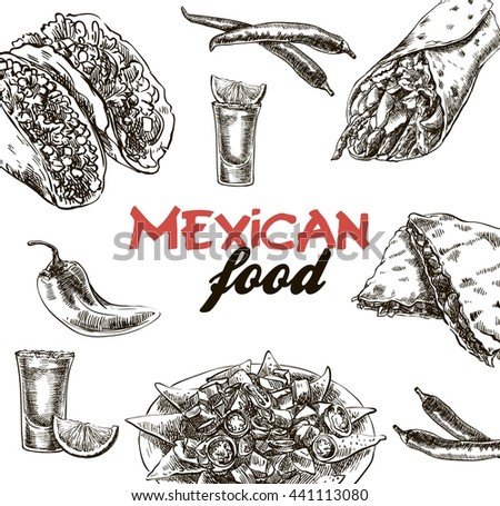 Mexican food sketches - stock vector