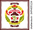 Mexican food tacos and burritos menu poster logo for restaurant, stamp sign icon label with cactus and tequila. Vector illustration - stock vector