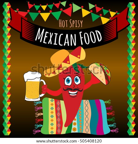 Mexican food. Vector design template for Mexican restaurant.