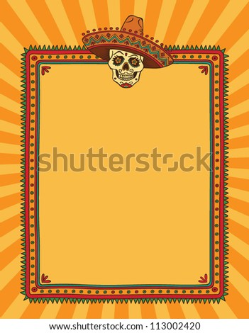 mexican frame with skull in sombrero - Mexican Frame