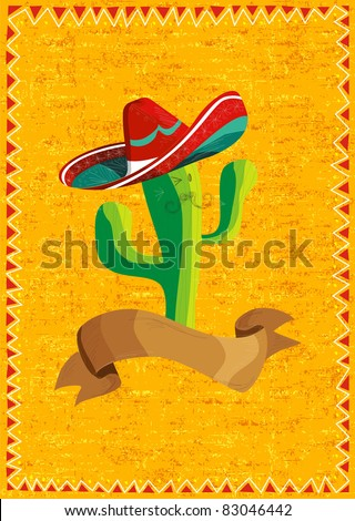 Mexican funny cactus cartoon character and ribbon illustration over grunge background. Useful for menu design. - stock vector